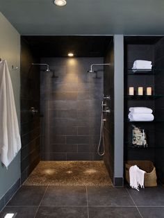 Elegant 'His' and 'Hers' showers - time-saving without having to jostle for space!
