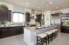 Find new homes in Estates at Happy Valley Summit Collection. Search floor plans, school districts, get driving directions and more for Estates at Happy Valley Summit Collection homes. Taylor Morrison Homes, Large Kitchen Island, Dark Kitchen Cabinets, New Home Builders, Barn Lighting, New Kitchen, Kitchen Ideas, Cool Kitchens, Building A House
