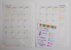 agenda calendario mensal codigo de cores color coding