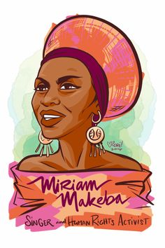 """#100Days100Women Day 81: Miriam Makeba was a South African Singer. She was on the vanguard of """"world music"""" and was one of the first singers to popularize African music in North America and Europe. She spoke out against Apartheid in South Africa and..."""