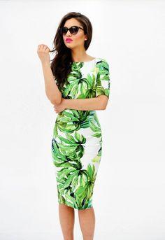 love the cut, length, pattern is fun PALM TREE MIDI DRESS | ModMint -Fashionable young women's clothing