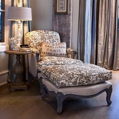 Chaise with gray & white toile...would love this in my sitting area.