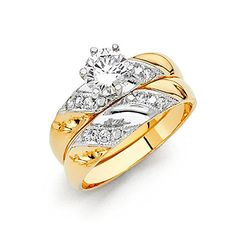 14k Two Tone Gold SOLID Engagement Ring and Wedding Band 2 Piece Set  Size 7 *** Continue to the product at the image link.