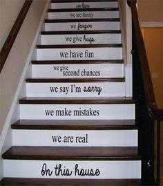 In This House Stairs Version 2 Decor Decal Sticker Wall Vinyl Art - boop decals - vinyl decal - vinyl sticker - decals - stickers - wall decal - vinyl stickers - vinyl decals