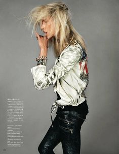 when punk meets funk: anja rubik by josh olins for vogue japan june 2011 Rock Chic, Rock Style, Glam Rock, Rock Rock, Anja Rubik, Vogue Editorial, Editorial Fashion, White Editorial, Glam Style