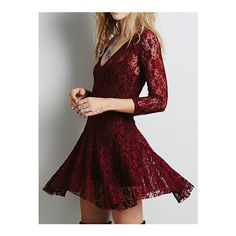 SheIn(sheinside) V Neck Lace Skater Wine Red Dress ($20) ❤ liked on Polyvore featuring dresses, burgundy, party dresses, short sleeve dress, red skater dress, long sleeve dresses and skater dress