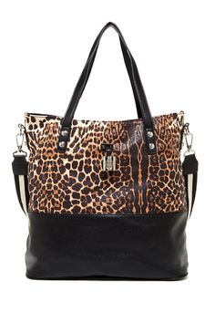 Leopard Print Padlock Getaway Tote #bag #handbag #animal #print