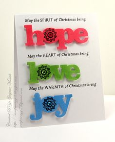Handmade by G3: Hope! Love! Joy! Team work by Gayatri and her very clever daughter :)