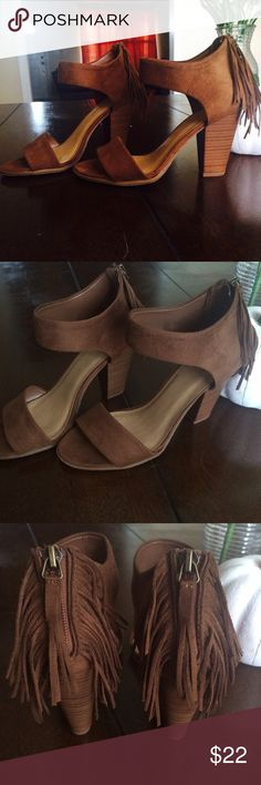 New Brown Suede Heels With Fringe New, never worn, no box. Shoes Heels