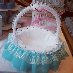 Love the combination of lace and tulle. Would be cool to add beading as well for a totally pimped out shopping basket or display <3