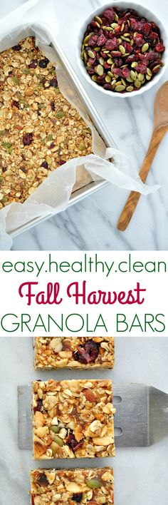 Packed with sweet, salty, chewy, and crunchy ingredients, these clean eating Fall Harvest Healthy Granola Bars are a make-ahead snack to keep on hand. Healthy Granola Bars, Homemade Granola Bars, Healthy Bars, Healthy Treats, Snacks Homemade, Weight Watcher Desserts, Breakfast Bars, Make Ahead Breakfast, Breakfast Ideas