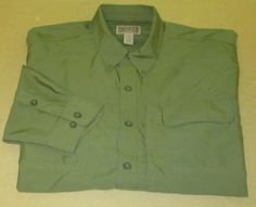 Men's DULUTH TRADING Co L/S Fishing Hiking   Shirt Sz XXL 2XL - Green 100% Poly…