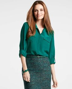 Classic button-down utility shirt meets silk for a piece that can be tucked into skirts or pants for an instant pulled-together look and a bit of everyday luxury.  Silk Button Down Camp Shirt, $98 at Ann Taylor