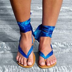 Alessia Solari: Sophisticated Silk Wrap Sandals Can use flip flops (old navy's work great!) and your choice of ribbon to look just like these for 10% of the price of these! Love them!