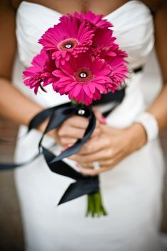 Pinned by Aforal.com from http://adamandkavya.tumblr.com/page/2 ~Afloral.com has high-quality gerbera daisies, rhinestones and ribbon to DIY your wedding bouqeut.