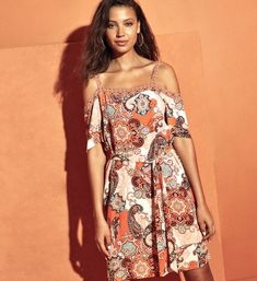 Add to your wedding guest dress collection with this vibrant number. It will liven up your style and leave you feeling slinky and fabulous thanks to the cold shoulder finish. Wear it with a white heeled sandals and you will no doubt be the best dressed guest -let's hope there are prizes. Bardot Dress, Summer Glow, White Heels, Holiday Looks, Heeled Sandals, Paisley Print, Dress Collection, Fit And Flare, Nice Dresses