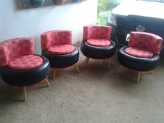 Tire Furniture, Diy Furniture Decor, Garage Furniture, Recycled Furniture, Tire Craft, Tyres Recycle, Old Tires, Upcycled Home Decor, Diy Ribbon