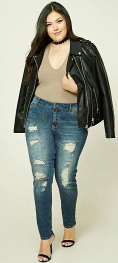 Plus Size Distressed Jeans Übergrößen Jeans, Große Hüften, Mode Für  Mollige, Übergrößenmode Für 6f01ffc60c