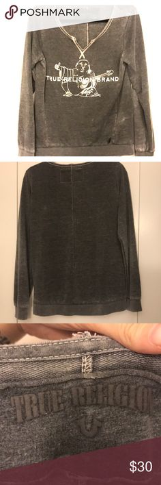 True Religion Sweater Faded grey sweater from true religion worn twice. Super cute just don't have room in my closet! True Religion Sweaters