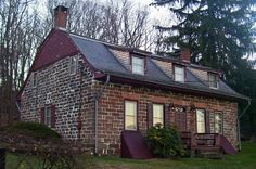 Michael Salyer Stone House, Blue Hill Road, Orangetown, New York. Built in 1790 of rough-cut sandstone. Located on property owned by Jeremias Mabie, he raised four daughters, one of which, Elizabeth Mabie, married Michael Salyer. It is believed that this house was a wedding present to them from her parents. In 1992 it was donated by the United Water Company to the Town of Orangetown. Currently used as a local history museum.