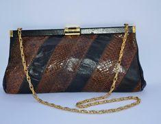 e8f68a21e8 Vintage leather clutch bag 70s tan brown snakeskin shoulder bag jane  shilton lbf