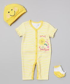 Look what I found on #zulily! Yellow Stripe 'Mommy' Sunshine' Playsuit Set - Infant by Vitamins Baby #zulilyfinds -- Cause she's my sunshine!!!