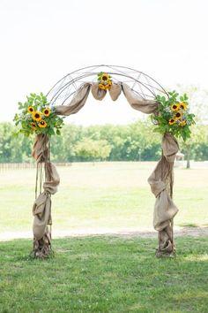 Horse Farm Sunflowers Wedding Arch / http://www.himisspuff.com/wedding-arches-wedding-canopies/