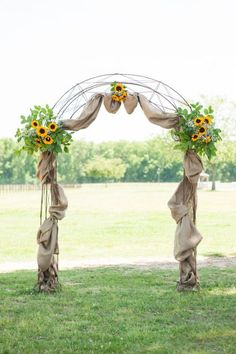 Horse Farm Sunflowers Wedding Arch / http://www.himisspuff.com/wedding-arches-wedding-canopies/