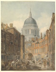 THOMAS GIRTIN c London streets were crowded and narrow. Paul's Cathedral from St. Martin's-le-Grand, by Thomas Girtin. Old London, London City, Frankenstein, Victorian London, Victorian Era, London History, Vintage Wall Art, Heritage Image, Printmaking