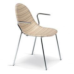 LUNA armchair has a chrome-plated metal structure, seat shell in moulded, laminated natural wood, veneered in blackwood or moccawood. Also available as a chair, swivel chair and stool.  Height 86cm, seat height 45cm, depth 56cm, width 57cm and armrest height 66cm