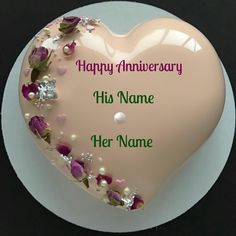 Happy Anniversary Heart Cake For Couple With Your Name.Name Anniversary Cake Maker.Love Cake With Couple Name.Wedding Anniversary Designer Cake With Lover Name Gorgeous Cakes, Pretty Cakes, Amazing Cakes, Mirror Glaze Cake, Mirror Glaze Wedding Cake, Mirror Cakes, Heart Cakes, Valentine Cake, Love Cake