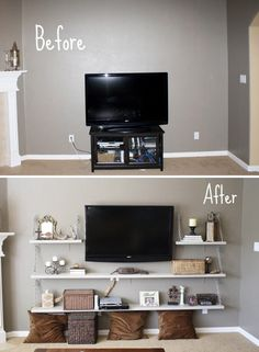 I like this idea of shelves around the tv and it not actually on a stand