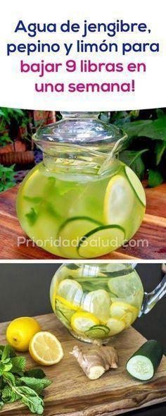Agua de pepino, jengibre y limón para bajar 9 libras en una semana.