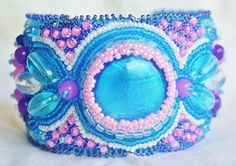 Carribean Gardens Bead Embroidered Cuff Bracelet