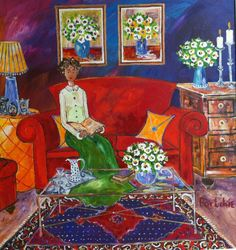 Dreaming on the red couch - by Portchie, a South African artist Art Gallery, Artist Painting, Art Painting, Naive Art, Painting, Whimsical Art, Art, South African Art, Prints