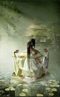 """""""Remember, geisha are not courtesans. We create another secret world, a place only of beauty. The very word """"geisha"""" means artist. Japan Kultur, Illustration Art, Illustrations, Foto Fashion, Art Japonais, Lily Pond, Chinese Art, Chinese Theme, Photo Manipulation"""