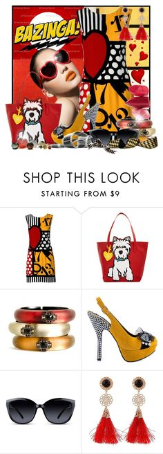 """""""Bazinga!"""" by doozer ❤ liked on Polyvore featuring Moschino, Marc Tetro, Rossetto, Alexis Bittar, Bettie Page, GlassesUSA, SkLO, women's clothing, women and female"""