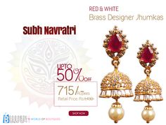 BUY this ring now at best price...  Product Name:Red and White Brass Designer Jhumkas Product Code:MIJA90J023 Product Retail Price:Rs.1,430/- Product Price:Rs.Rs.715/- Buy at link:http://bit.ly/1ihqSZN