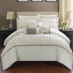 Wanda 10 Piece Bed in a Bag Comforter Set by Chic Home Beige - CS2114-HE, CHIH274-3