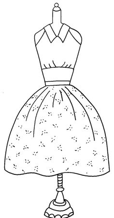 "Image Detail for - Free Redwork Pattern for March ""Blossom Time Dress"" Applique Patterns, Embroidery Applique, Cross Stitch Embroidery, Machine Embroidery, Embroidery Designs, Digi Stamps, Copics, Colouring Pages, Paper Dolls"