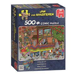 Ken jij de puzzels van Jan van Haasteren al? Hij tekent de grappigste, leukste en meest kleurrijke strip platen. Met deze puzzel van 500 stukjes maak jij het Chinese nieuwjaar. Je ziet de grote draak, de vrolijke lampionnen, vuurwerk en… kun jij de haaienvin vinden? In elke puzzel van Jan van Haasteren zit namelijk wel een haaienvin, Sinterklaas, een kunstgebit en een zelfportret van Jan. Afmeting: 49 x 35 cm - Jan van Haasteren - Chinees Nieuwjaar, 500st.