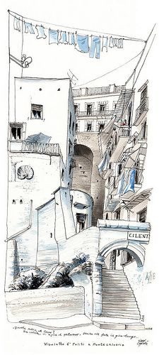 Napoli. Black ink in Lamy fountain pen and watercolor on Canson paper. Very nice controlled lines.