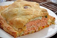 Empadão de salmão e batata doce as rodelas