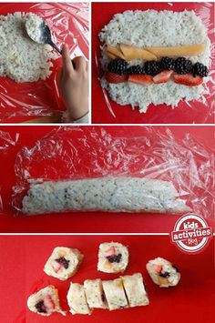 Healthy Snacks For Kids Easy to make and a huge hit with kiddos! We keep a roll (or three) in the freezer as a quick on-the-go sweet treat. - Make your own frushi - fruit sushi! it makes a perfect snack for kids. Snacks Für Party, Lunch Snacks, Lunches, Sushi Party, Kid Snacks, School Snacks, Fruit Sushi, Dessert Sushi, Kid Sushi