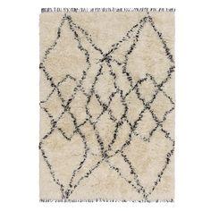 Teppich Ambassa, Eierschale/Schwarz mit geometrischem Muster | URBANARA