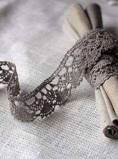 Grey crochet lace edging