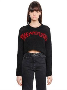 MCQ ALEXANDER MCQUEEN, Fear nothing wool cropped sweater, Black/red, Luisaviaroma
