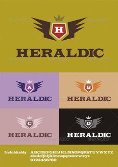 Heraldic Letters Logo ...  A B C D E F G logo, H I J K L M N logo, Heraldic Logo, O P Q R S T U V logo, W X Y Z logo, aggressive logo, any letter logo, biker logo, business, club logo, crown, family logo, letters logo, logo, logotype, modern logo, motorcycle logo, shield, traditional logo, wings, wings logo