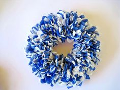 Blue and White Paper Wreath, Front Door Wreath, Blue and White Roses Wreath, Everyday Blue Wreath, Paper Home Decor, Front Door Decoration by ThePurpleDream on Etsy