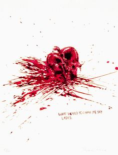 red heart smashed on the floor